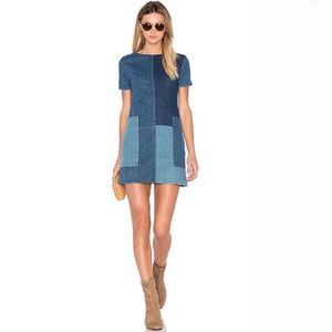 J Brand Luna Shift Dress Patchwork Denim XS- Small